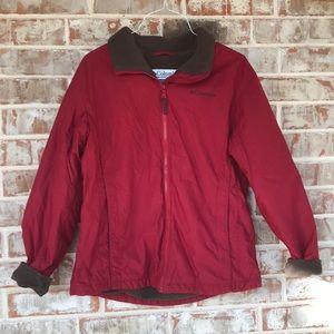 Sz M Deep Red Fleece Lined Columbia Coat